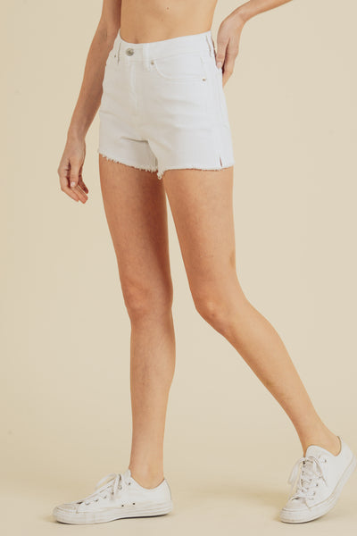 White High Rise Cut off Shorts side view