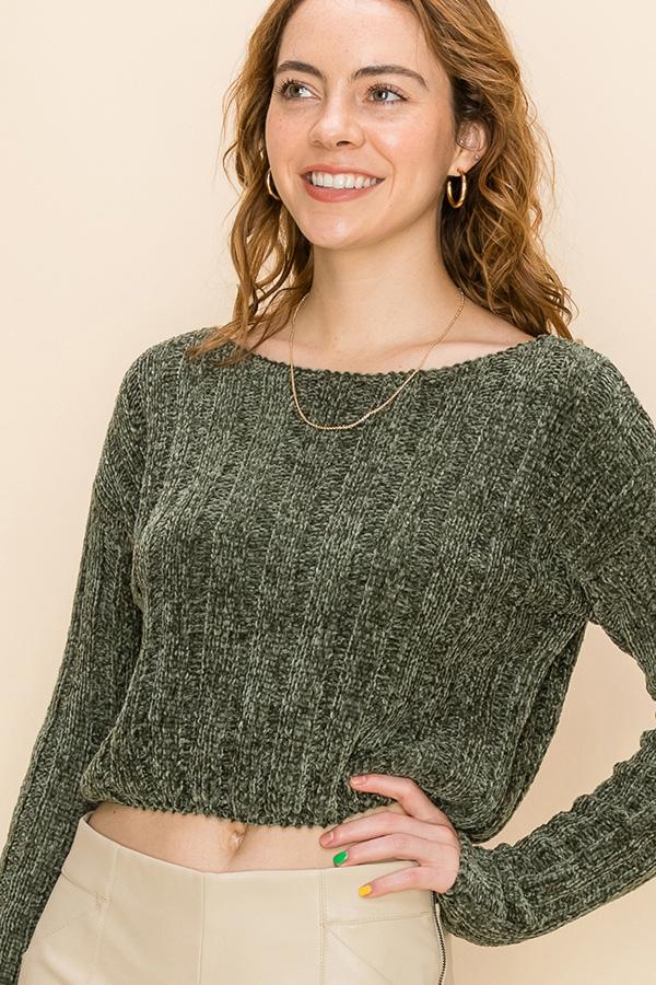 Crop It Sweater, Olive