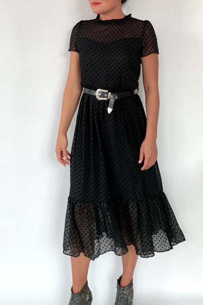 Swiss Dot Chiffon Dress
