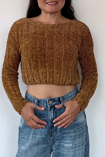 Crop It Sweater, Amber