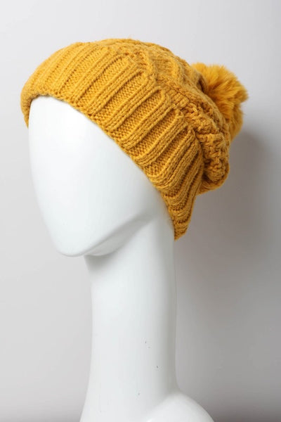 cable pom pom hat mustard