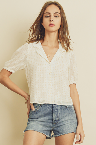 Sheer Button down with Puff Sleeve