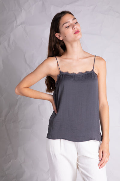 lace detail silky camisole grey