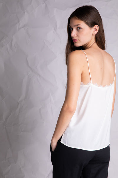 lace detail silky camisole ivory white