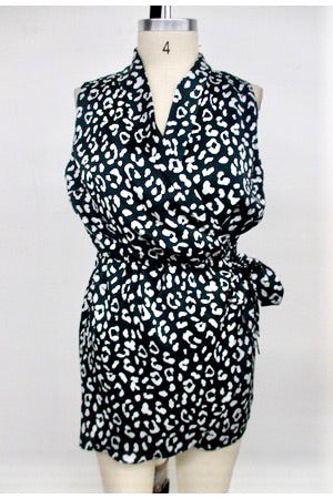 black and white animal print romper