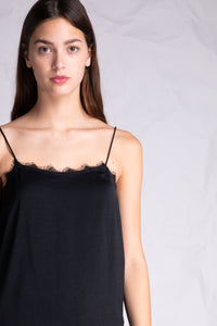 lace detail silky camisole black