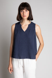 sleeveless navy top