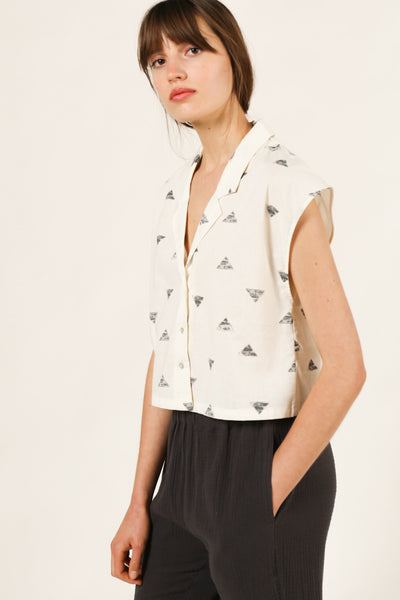 Triangle Print Top in Ivory