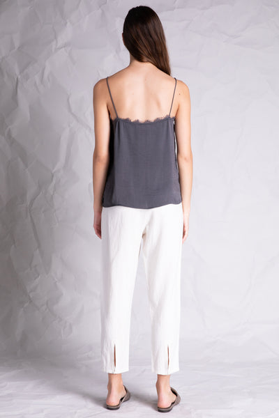 lace detail silky camisole grey back