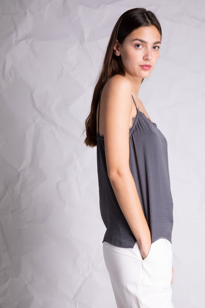 lace detail silky camisole grey side