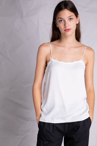 lace detail silky camisole ivory
