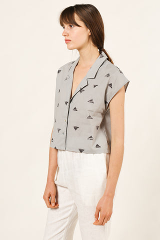 Triangle Print Top in Cement