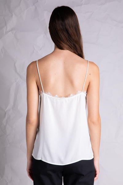 lace detail silky camisole ivory back