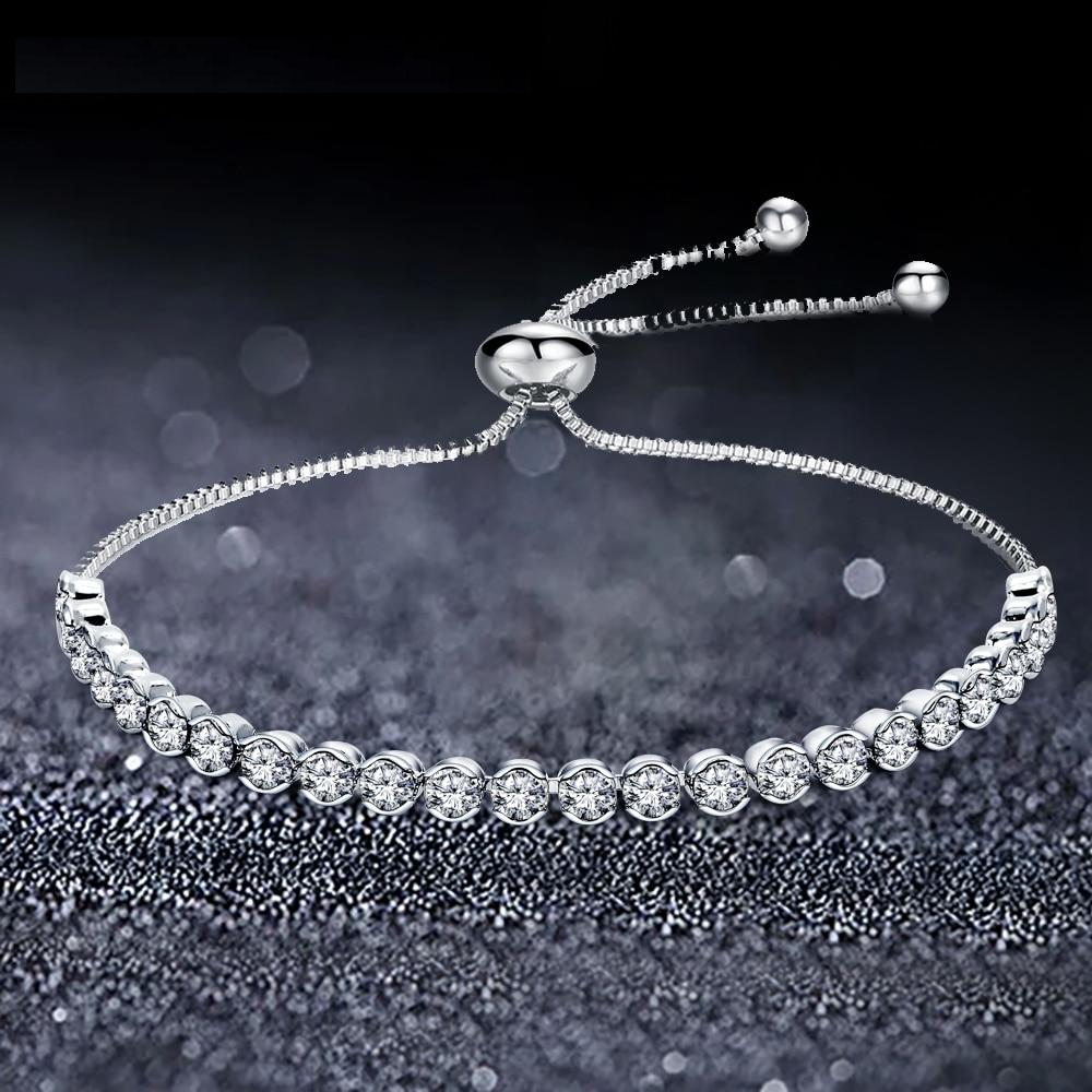 Doracy - Doracy  Ladies Silver Color Tennis Adjustable Charm Bracelets & Bangles With  5A Cubic Zirconia - Bracelets, Caps Hats  Ladies Silver Color Tennis Adjustable Charm Bracelets & Bangles With  5A Cubic Zirconia - Caps Hats Bracelets Swimming Running Cycling  Fashion