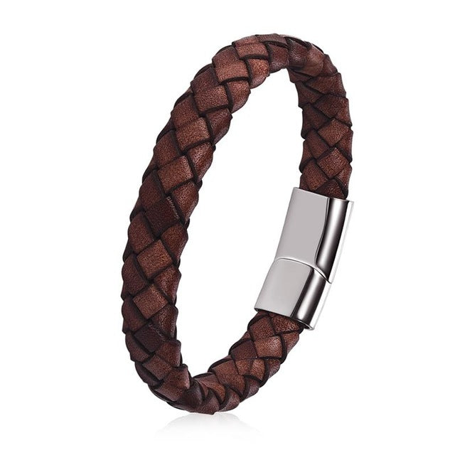 Doracy - Doracy  Simple Design Brown Genuine Leather Bracelet With  Fashionable Stainless Steel Magnetic Clasp - Bracelets, Caps Hats  Simple Design Brown Genuine Leather Bracelet With  Fashionable Stainless Steel Magnetic Clasp - Caps Hats Bracelets Swimming Running Cycling  Fashion