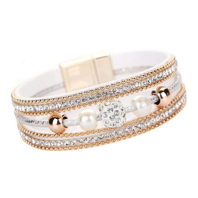 Doracy - Doracy  New Arrival Women Fashion Multilayer Bangle Bracelet With Crystal Beaded Leather Magnetic Toggle-clasps - Bracelets, Caps Hats  New Arrival Women Fashion Multilayer Bangle Bracelet With Crystal Beaded Leather Magnetic Toggle-clasps - Caps Hats Bracelets Swimming Running Cycling  Fashion