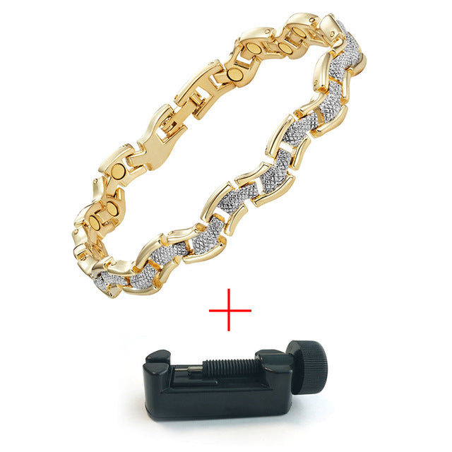 Doracy - Doracy  New Arrival 2 Tone Silver +18ct Gold Plated Therapy Magnetic Bracelets For Women Pain And Anxiety Relief - Bracelets, Caps Hats  New Arrival 2 Tone Silver +18ct Gold Plated Therapy Magnetic Bracelets For Women Pain And Anxiety Relief - Caps Hats Bracelets Swimming Running Cycling  Fashion
