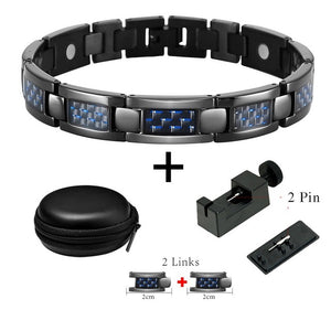Doracy - Doracy  Titanium Magnetic Therapy Carbon Fiber Black Bracelets Pain Relief for Arthritis  and Sports Wristband with Adjustable Tools and Links - Bracelets, Caps Hats  Titanium Magnetic Therapy Carbon Fiber Black Bracelets Pain Relief for Arthritis  and Sports Wristband with Adjustable Tools and Links - Caps Hats Bracelets Swimming Running Cycling  Fashion