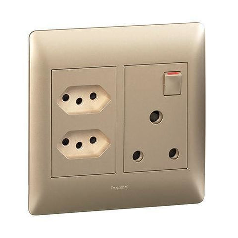 Single Socket Vertical + 2 Slimline - Champagne - PY701125CHA