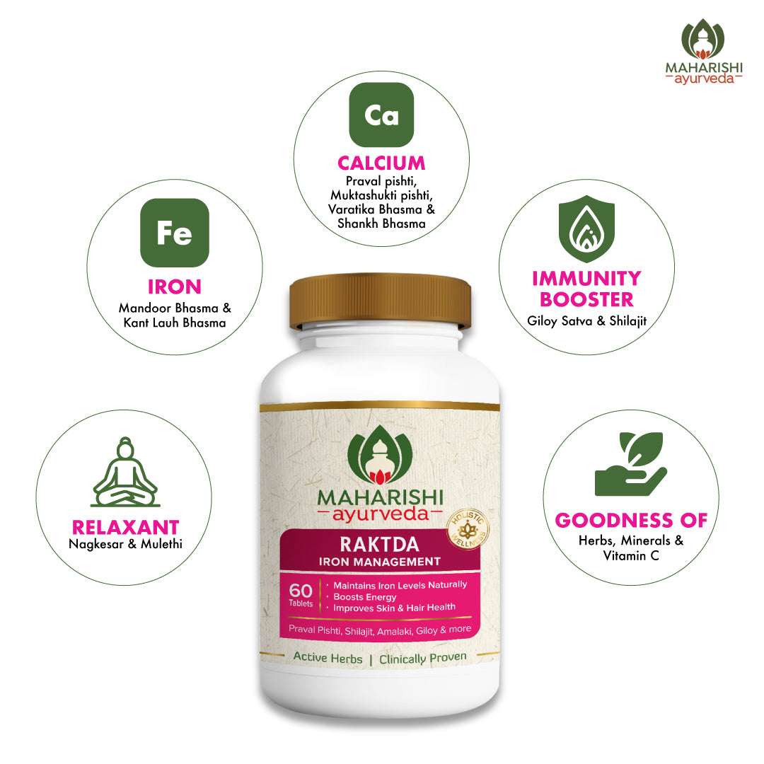 Raktda - Iron Management well-balanced combination of calcinated iron (Dual Pack) | 60 Tablets Pack Each - Maharishi Ayurveda