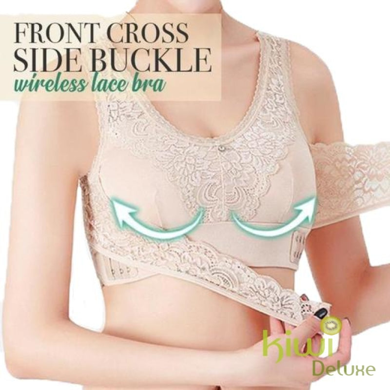 Front Cross Side-Buckle Wireless Lace Bra