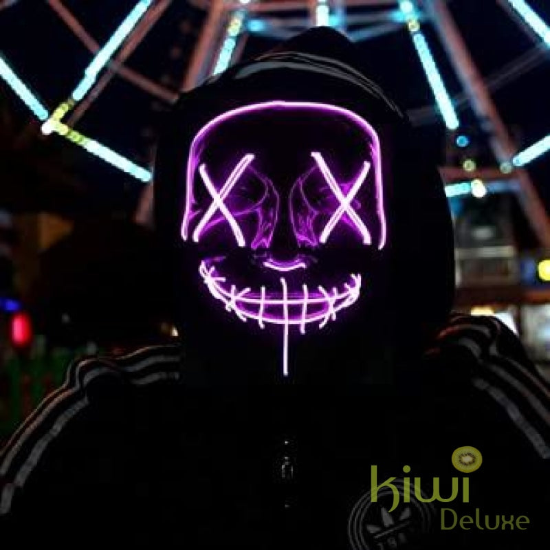 Purge Halloween Led Light Party Mask Purple Halloween