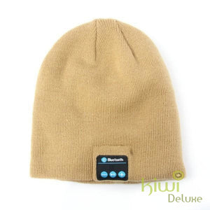 Unisex Wireless Bluetooth Beanie Hat Beige