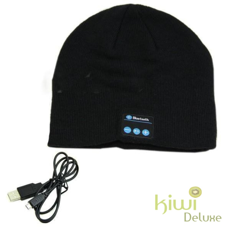 Unisex Wireless Bluetooth Beanie Hat Black