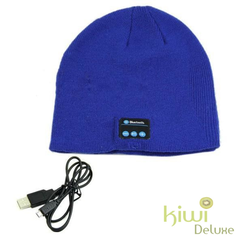 Unisex Wireless Bluetooth Beanie Hat Blue