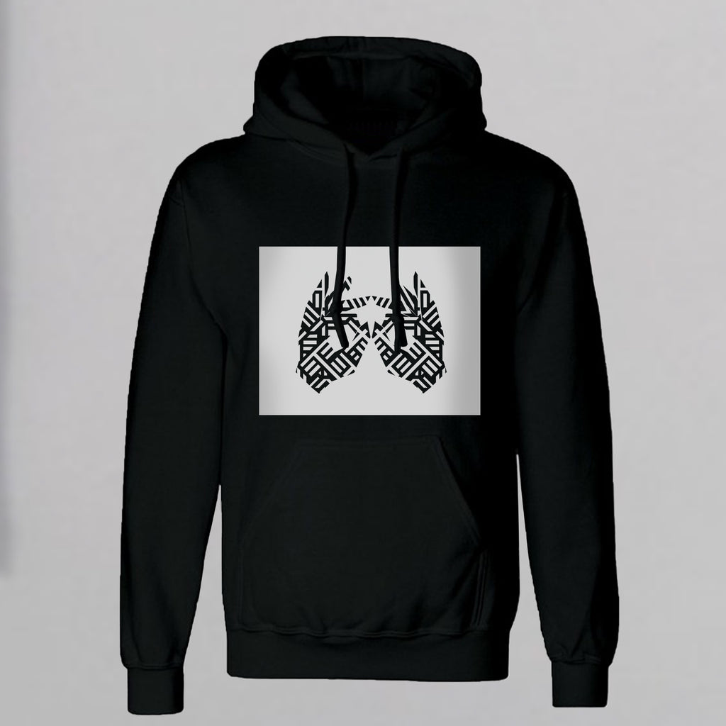 AM27 GRAPHIC BOX PRINT HOODY - BLACK
