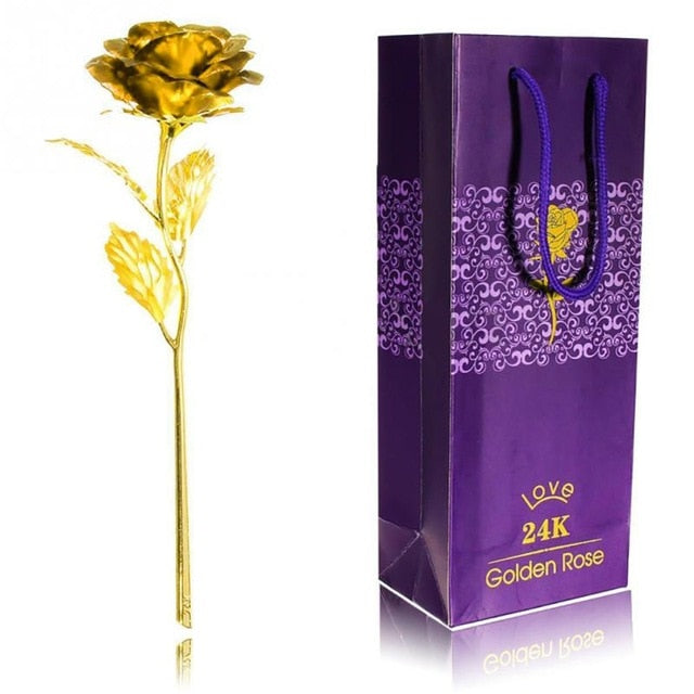 24K Foil Plated Valentine Rose