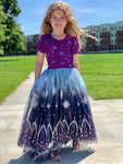 Frozen Inspired Navy and Purple Glitter Tulle/Mesh