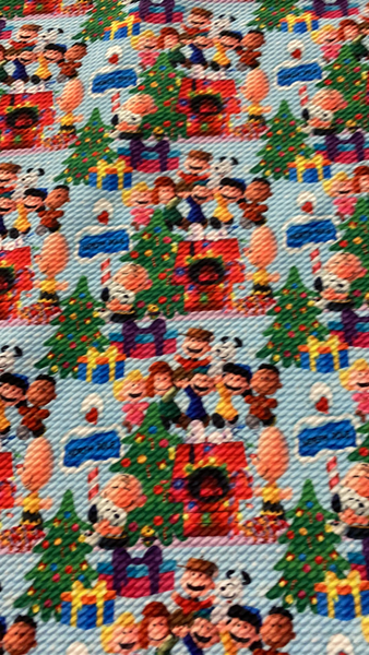 White Beagle Christmas Bullet Fabric