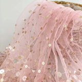 Gold Sequins on Pink Mesh