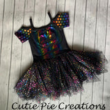 Multi color foil stars on Black Tulle/Mesh