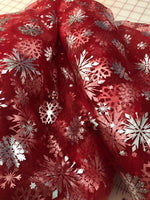 Silver Snowflakes on Holiday Red