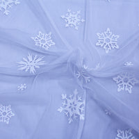 White Glitter Snowflakes on White Mesh/tulle
