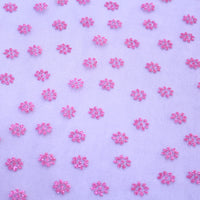 Dainty pink glitter flowers on soft mesh