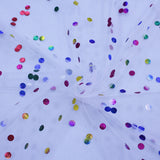 Iridescent confetti dots on white
