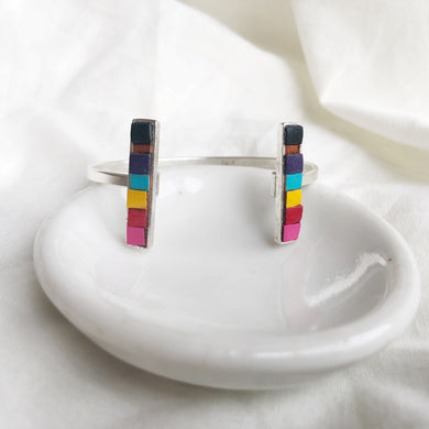 Bar Cuff - Rainbow Recycled Leather on Silver - Laundry Girl Jewelry
