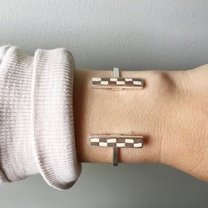 Bar Cuff - Gray and Cream Checked Recycled Leather on Silver - Laundry Girl Jewelry