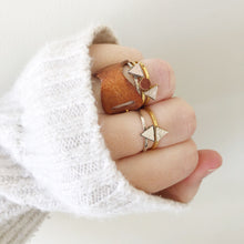 Load image into Gallery viewer, Dainty Triangle Stacking Rings Filled with Recycled Leather - Size 8 - Laundry Girl Jewelry