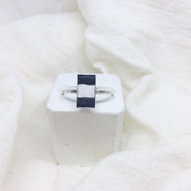 Dainty Rectangle Ring - Black and White on Silver Band - Size 8
