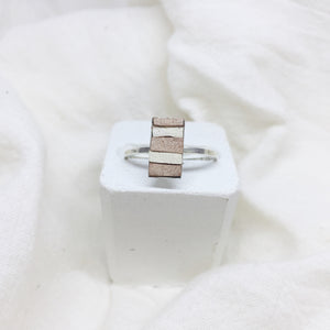 Dainty Rectangle Ring - Nude and White on Silver Band - Size 8