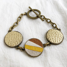 Load image into Gallery viewer, Recycled Leather Mosaic Bracelet - Ivory, Brown, Sparkle, Mustard Yellow