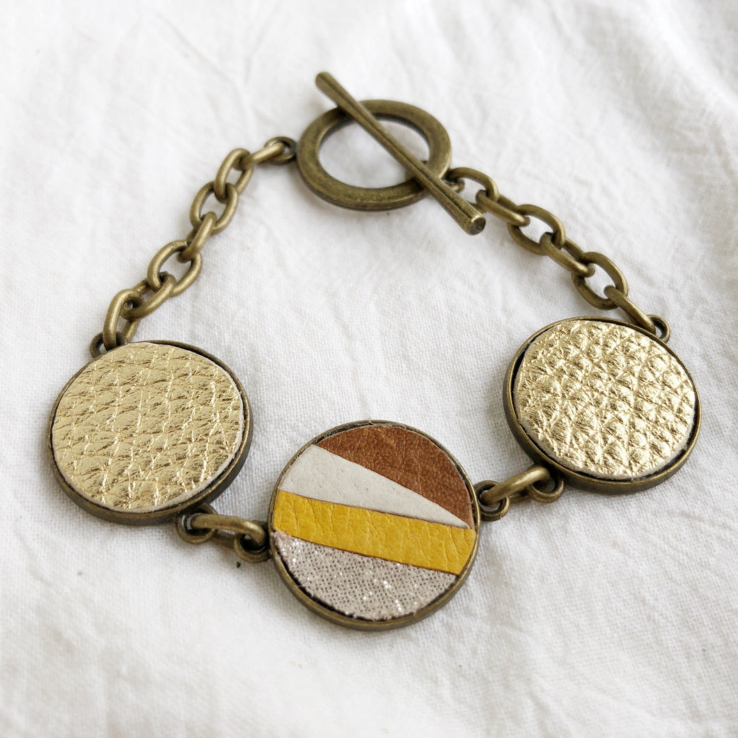 Recycled Leather Mosaic Bracelet - Ivory, Brown, Sparkle, Mustard Yellow - Laundry Girl Jewelry