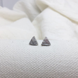 Teeny Triangle Studs - Silver - Filled with Recycled Leather