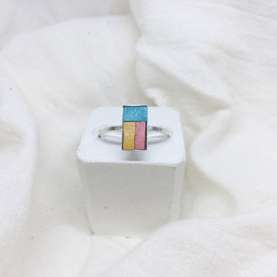 Dainty Rectangle Ring - Teal, Mustard Yellow, and Peach on Silver Band - Size 8