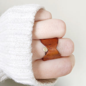 The Brown Bow Ring - Recycled Leather and Gold Chain