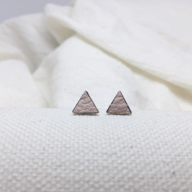 Teeny Triangle Studs - Light Nude Pink - Filled with Recycled Leather